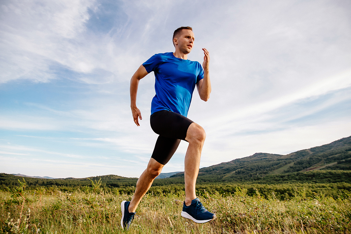 Sporty man runner running